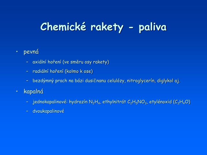 Chemické rakety - paliva
