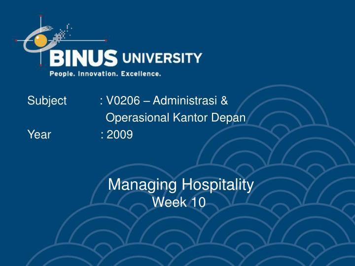 Managing hospitality week 10