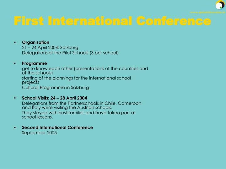 First International Conference