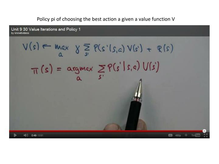 Policy pi of choosing the best action a given a value function V