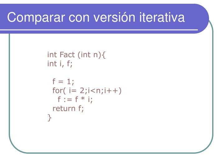 Comparar con versión iterativa