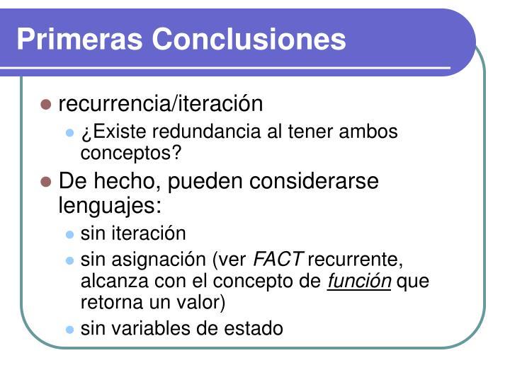 Primeras Conclusiones