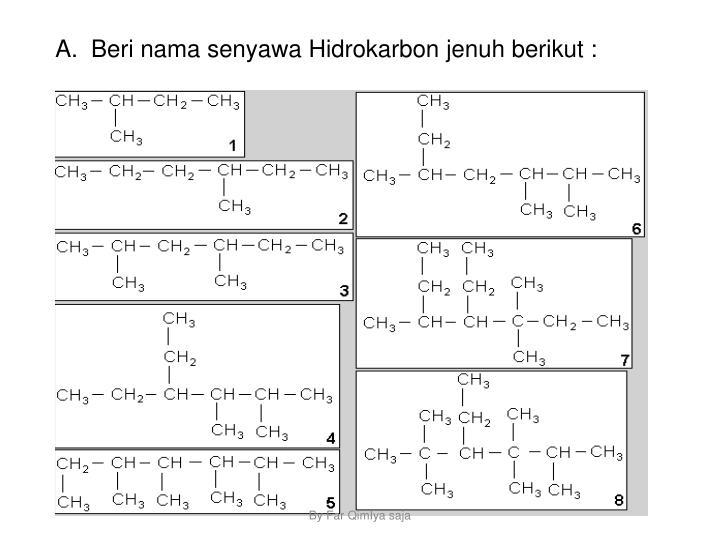 A.  Beri nama senyawa Hidrokarbon jenuh berikut :