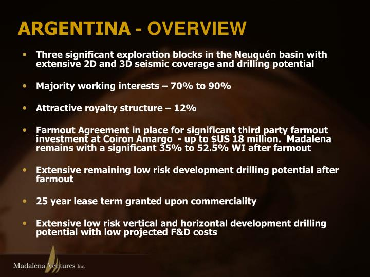 Three significant exploration blocks in the Neuquén basin with extensive 2D and 3D seismic coverage and drilling potential