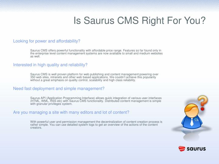 Is Saurus CMS Right For You?