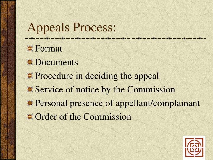 Appeals Process:
