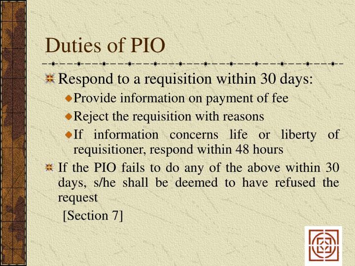 Duties of PIO