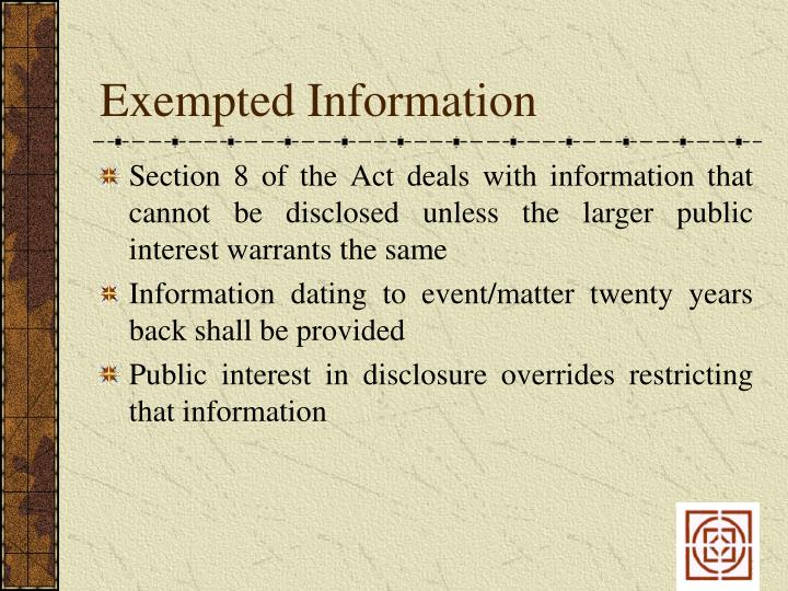 Exempted Information