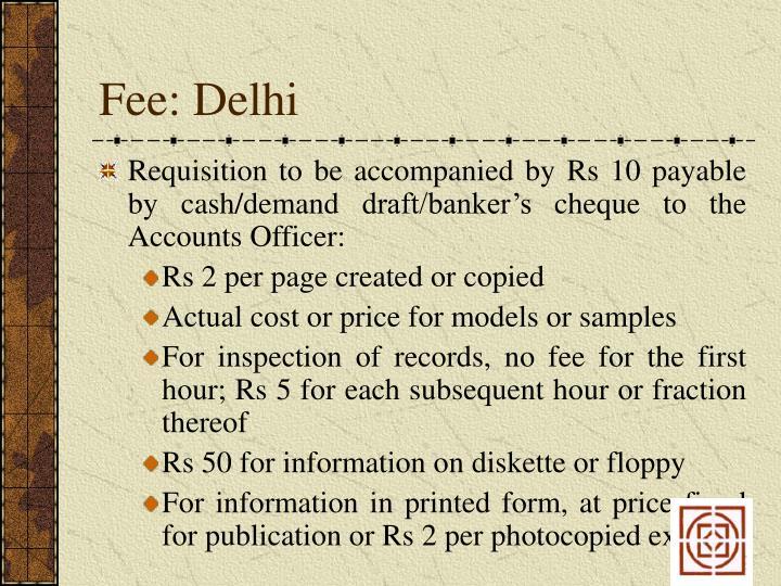 Fee: Delhi