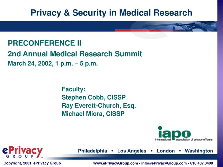 privacy security in medical research n.