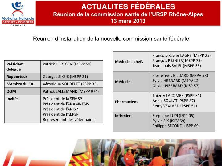 ACTUALITÉS FÉDÉRALES