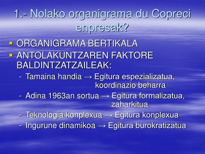 1.- Nolako organigrama du Copreci enpresak?