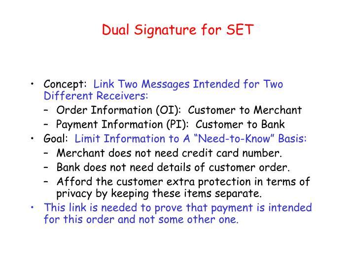 Dual Signature for SET