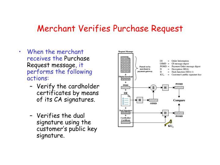 Merchant Verifies Purchase Request