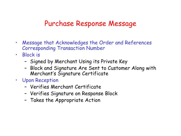 Purchase Response Message