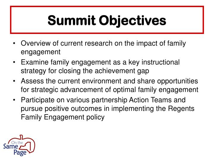 Summit Objectives