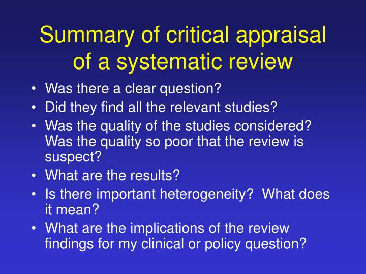 critical appraisal of a systematic review