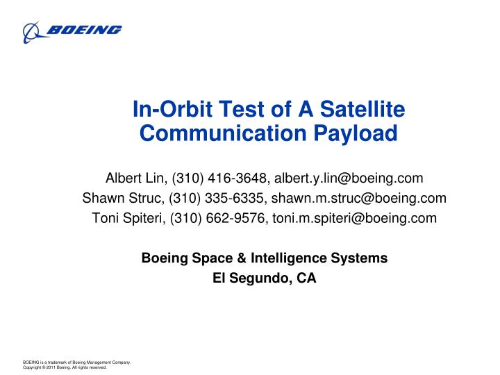 in orbit test of a satellite communication payload n.