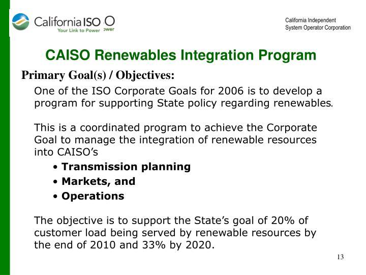 CAISO Renewables Integration Program