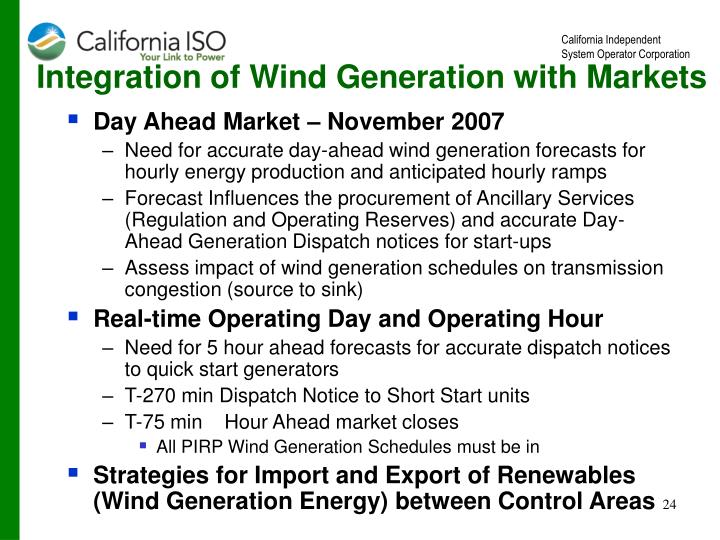 Integration of Wind Generation with Markets