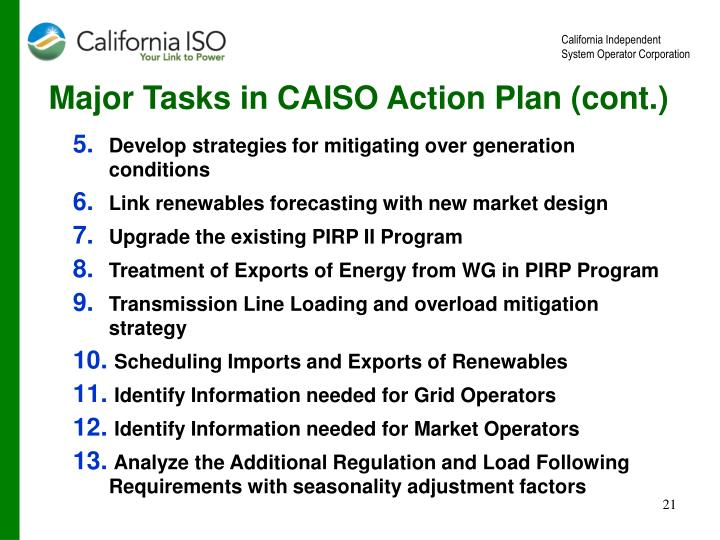 Major Tasks in CAISO Action Plan (cont.)