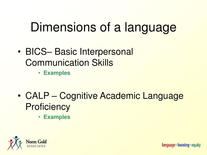 Dimensions of a language