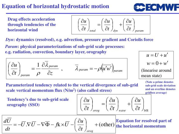 Equation of horizontal hydrostatic motion