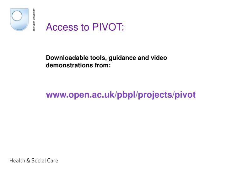 Access to PIVOT: