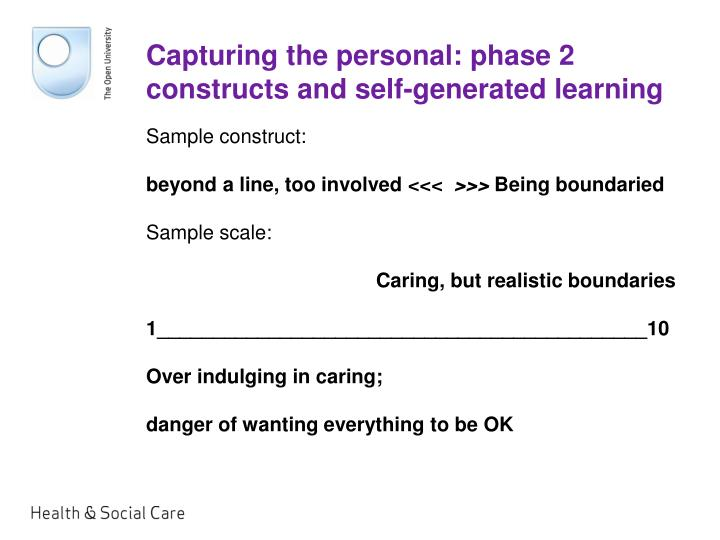 Capturing the personal: phase 2 constructs and self-generated learning