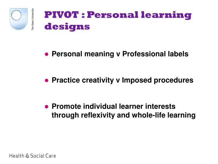 PIVOT : Personal learning designs