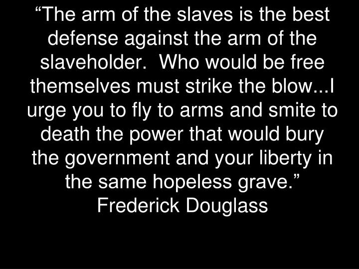 """""""The arm of the slaves is the best defense against the arm of the slaveholder.  Who would be free ..."""