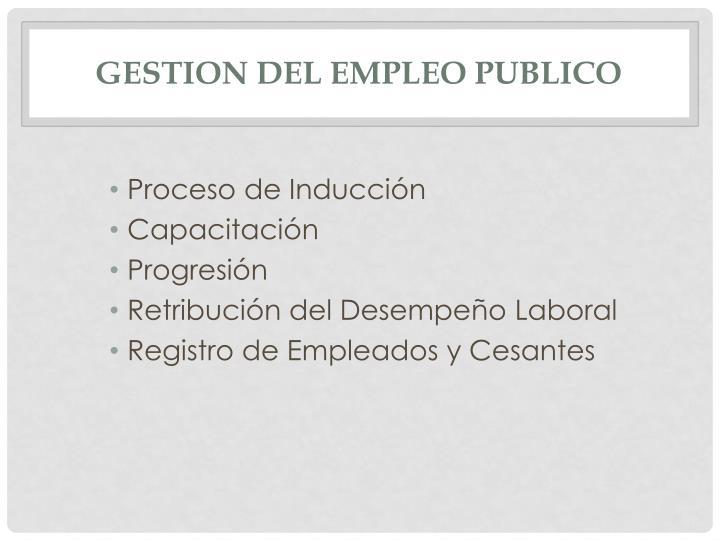 GESTION DEL EMPLEO PUBLICO