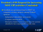 president s 9 99 proposal for increasing nist cip activities concluded