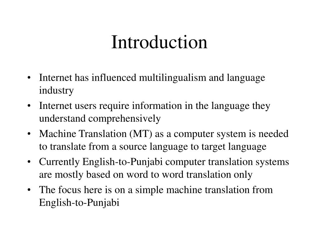 PPT - A Simple English-to-Punjabi Translation System PowerPoint