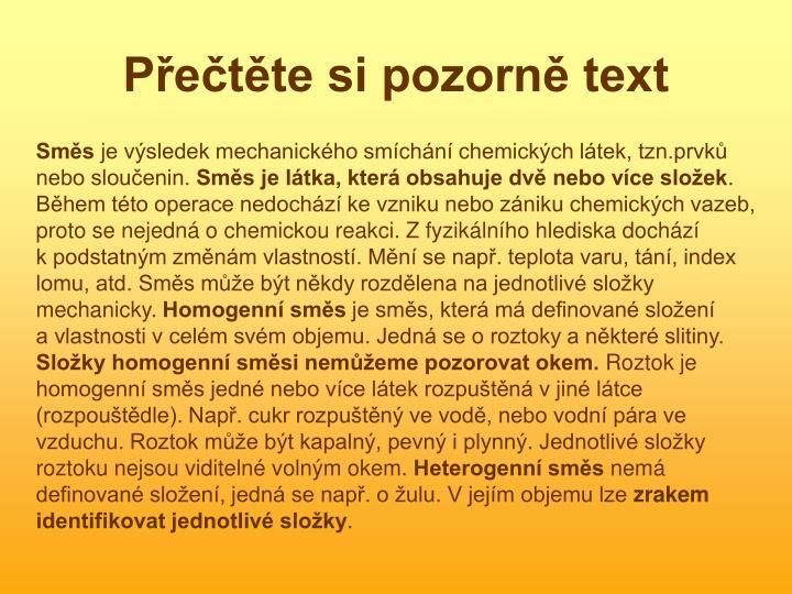 P e t te si pozorn text