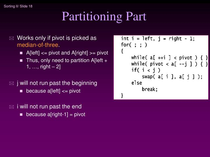 Partitioning Part