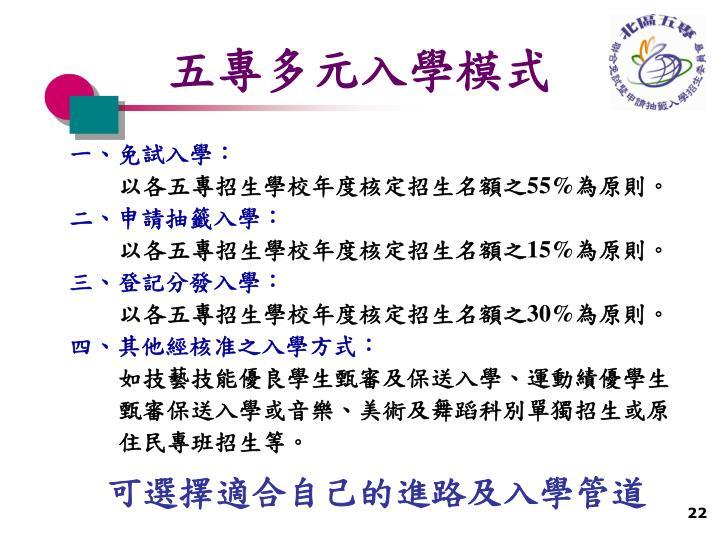 五專多元入學模式