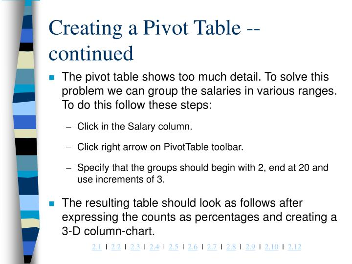Creating a Pivot Table -- continued