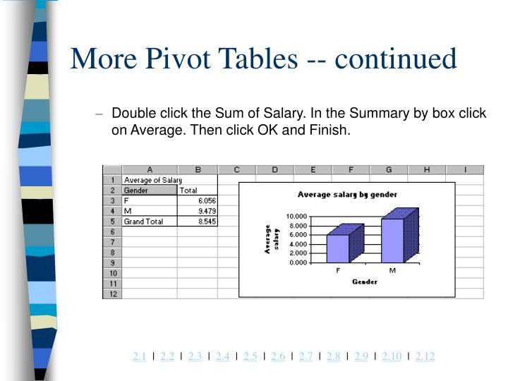 More Pivot Tables -- continued
