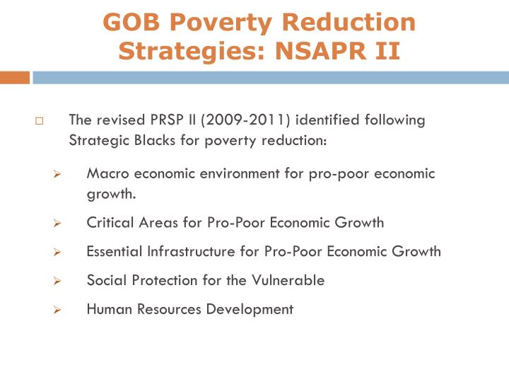 GOB Poverty Reduction Strategies: NSAPR II