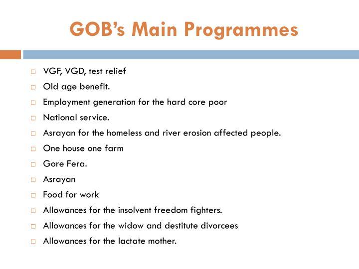 GOB's Main Programmes