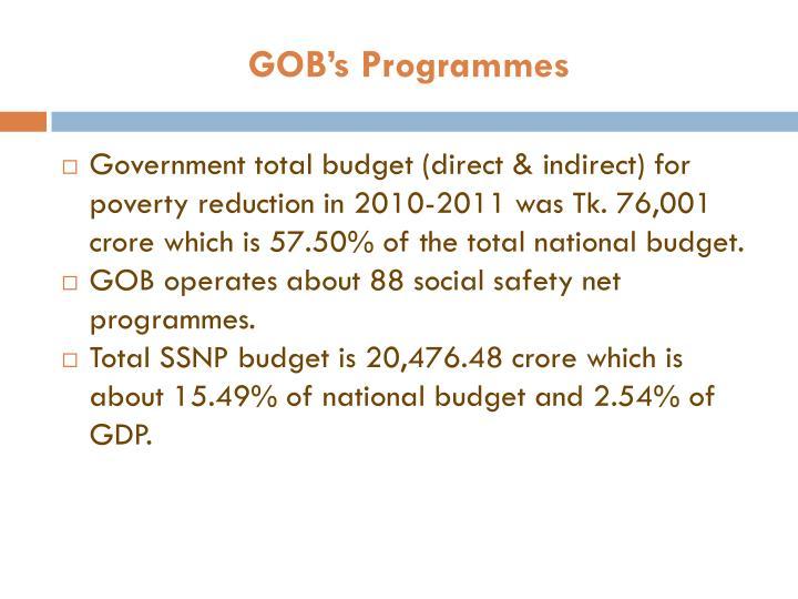 GOB's Programmes