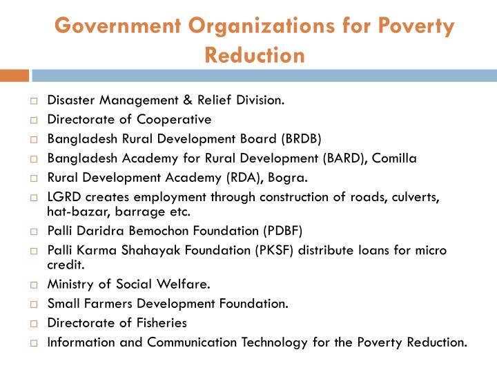 Government Organizations for Poverty Reduction