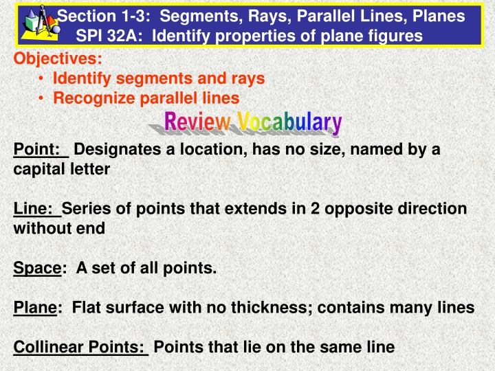 e83695d5b8f5 PPT - Objectives  Identify segments and rays Recognize parallel ...