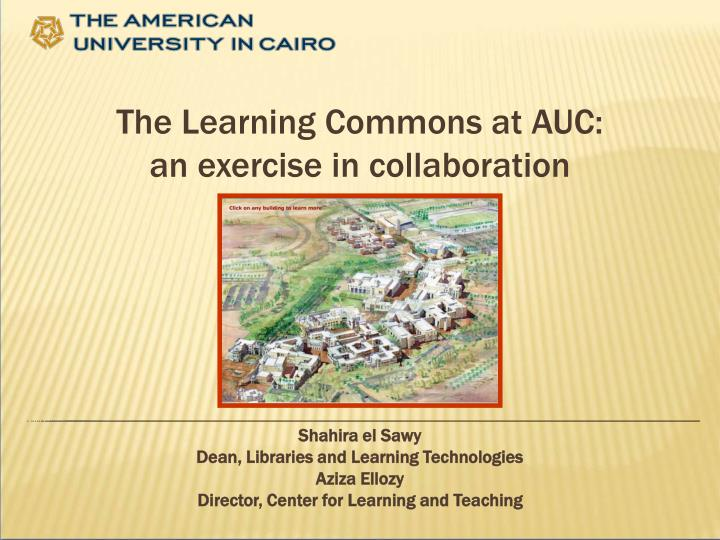 the learning commons at auc an exercise in collaboration n.