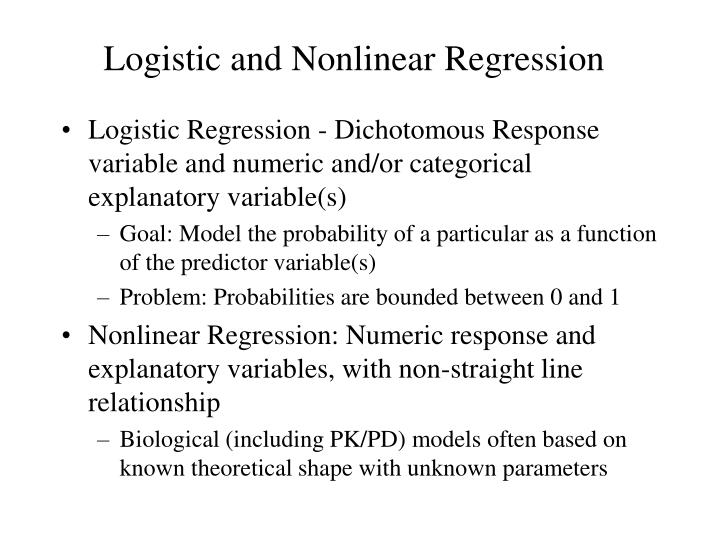 nonlinear regression Nonlinear regression is a regression in which the dependent or criterion variables are modeled as a non-linear function of model parameters and one or more independent variables.
