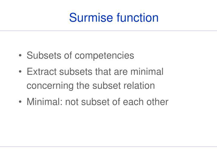 Surmise function