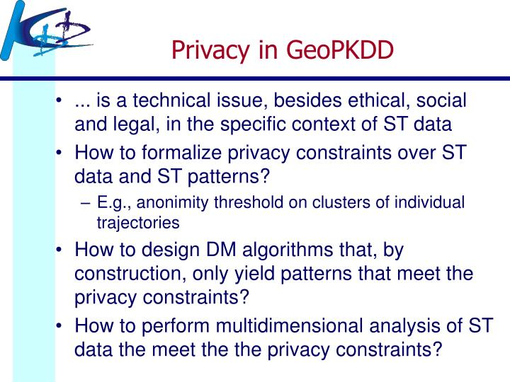 Privacy in GeoPKDD