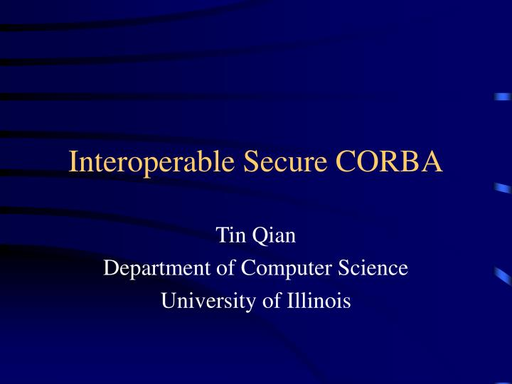 interoperable secure corba n.