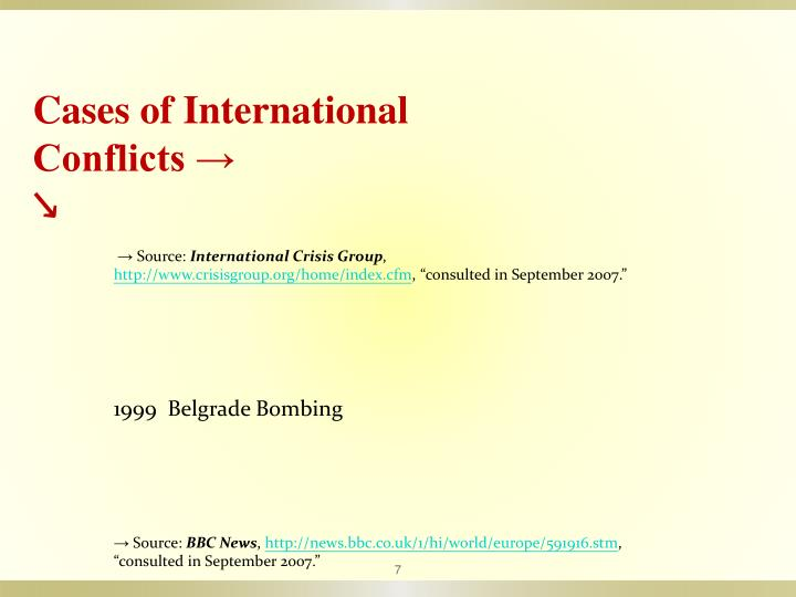 Cases of International Conflicts →